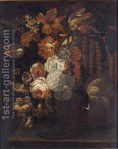 Still Life With Roses, Tulips, And Other Flowers In A Sculpted Vase On A Ledge by (after) Gaspar-Pieter The Younger Verbruggen - Reproduction Oil Painting
