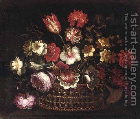 Roses, tulips, narcissi and other flowers in a basket by (after) Gasparo Lopez - Reproduction Oil Painting