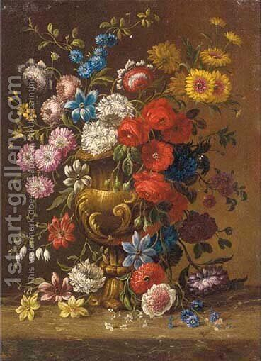 Carnations, narcissus and other flowers in an urn on a mar by (after) Gasparo Lopez - Reproduction Oil Painting