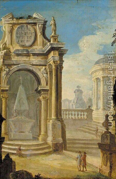 An archituctural capriccio with firures before a monument by (after) Gennaro Grecco Called Mascacotta - Reproduction Oil Painting