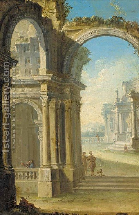 An architectural capriccio with figures conversing under an archway by (after) Gennaro Grecco Called Mascacotta - Reproduction Oil Painting