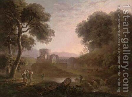 Figures on a river bank before castle walls by (after) George Barret - Reproduction Oil Painting