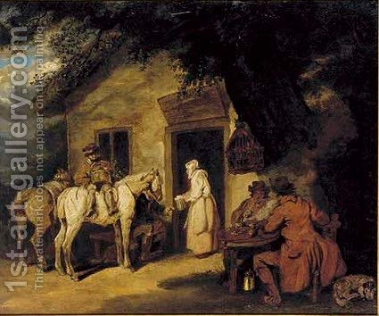 Figures and horses outside an inn by (after) George Morland - Reproduction Oil Painting