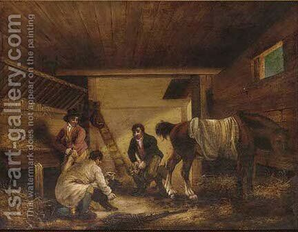 The dog fight by (after) George Morland - Reproduction Oil Painting