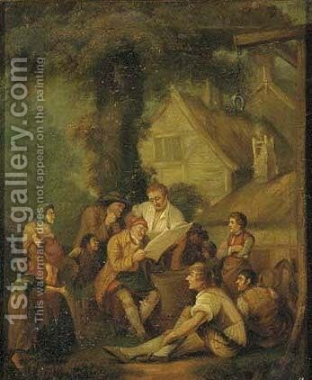 The daily news by (after) George Morland - Reproduction Oil Painting