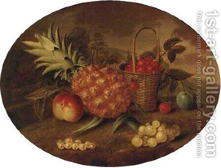 A pineapple, a plum, a peach, a bunch of grapes and a basket of strawberries in a landscape by (after) George William Sartorius - Reproduction Oil Painting