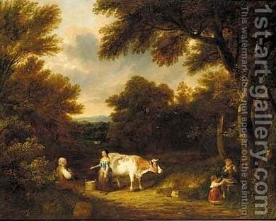 A milkmaid conversing on a wooded track by (after) George, Of Chichester Smith - Reproduction Oil Painting