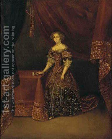 Portrait of the Duche lady by (after) Gerard Terborch - Reproduction Oil Painting