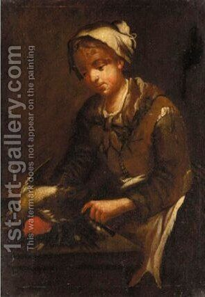 Bird Seller 2 by (after) Giacomo Francesco Cipper, Il Todeschini - Reproduction Oil Painting
