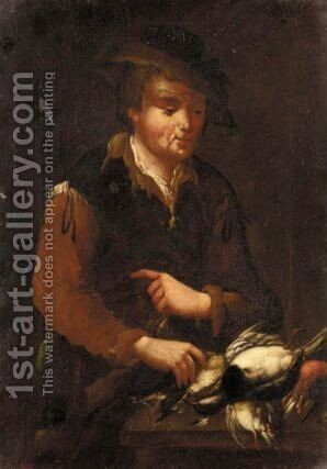 Bird Seller by (after) Giacomo Francesco Cipper, Il Todeschini - Reproduction Oil Painting