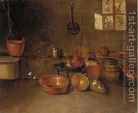 Copper pots, glass bottles, earthenware jugs, and a barrel by (after) Gian Domenico Valentino - Reproduction Oil Painting