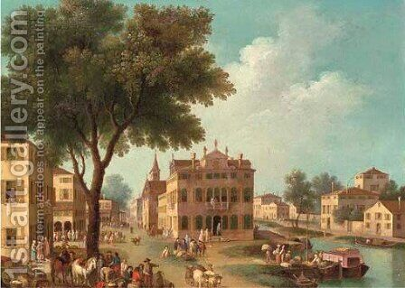 An Italianate landscape with townsfolk and fisherman in a town on a canal by (after) Gianbattista Cimaroli - Reproduction Oil Painting