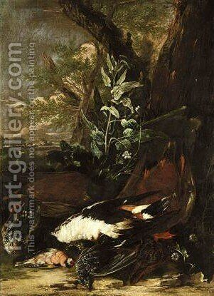 Still lif with dead birds 2 by (after) Giovanni B. (Il Genvovese) Castello - Reproduction Oil Painting