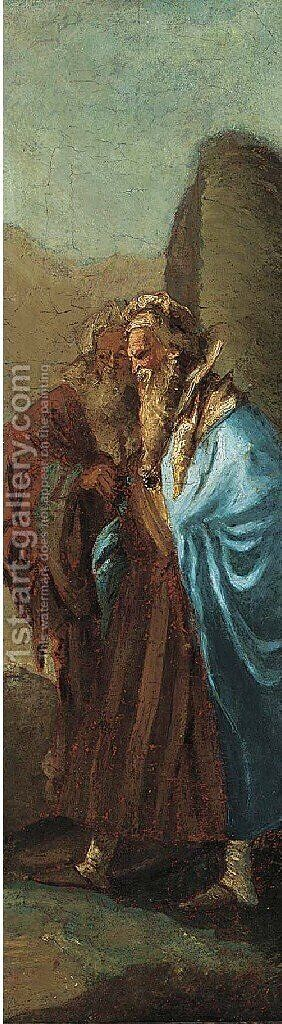 Two men in orential costume by (after) Giovanni Battista Tiepolo - Reproduction Oil Painting
