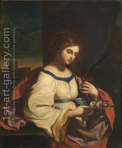 Saint Agatha by (after) Giovanni Francesco Guercino (BARBIERI) - Reproduction Oil Painting