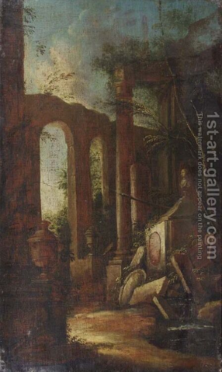A capriccio of classical ruins with a tomb by a pool by (after) Giovanni Ghisolfi - Reproduction Oil Painting