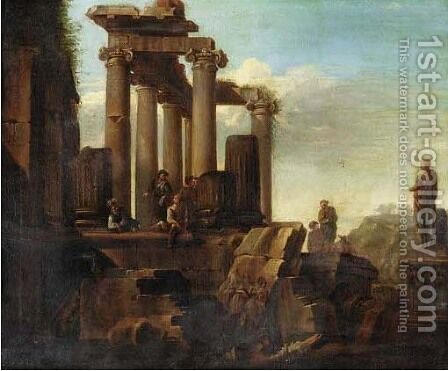 Capricci of Roman ruins with figures resting by (after) Giovanni Paolo Panini - Reproduction Oil Painting