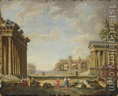 An architectural capriccio 2 by (after) Giovanni Paolo Panini - Reproduction Oil Painting