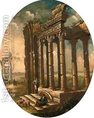 A capriccio of classical ruins with a shepherd resting by (after) Giovanni Paolo Panini - Reproduction Oil Painting