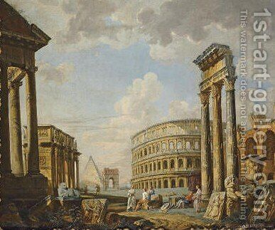 An architectural capriccio with the Colosseum by (after) Giovanni Paolo Panini - Reproduction Oil Painting