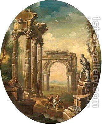 A capriccio of classical ruins with a couple by a pond by (after) Giovanni Paolo Panini - Reproduction Oil Painting