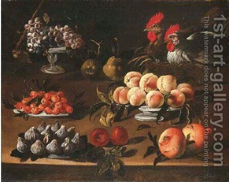 Platters of grapes, cherries, peaches, figs and cockerels by (after) Giovanni Quinsa - Reproduction Oil Painting