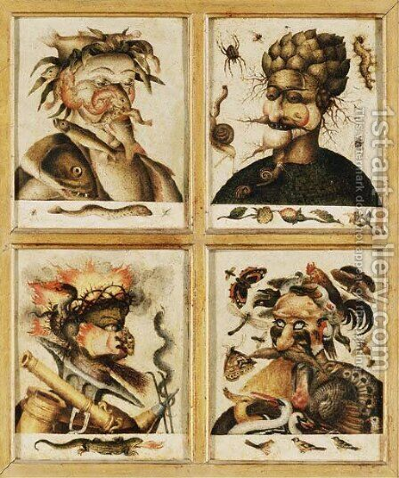 Four anthropomorphic heads the Allegories of Water, Earth, Fire and Air by (after) Giuseppe Arcimboldo - Reproduction Oil Painting
