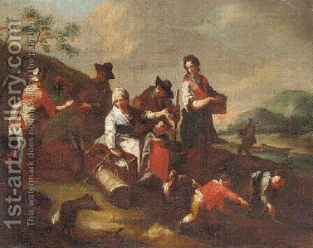Peasants selling wine and chickens in a landscape by (after) Giuseppe Gambarini - Reproduction Oil Painting