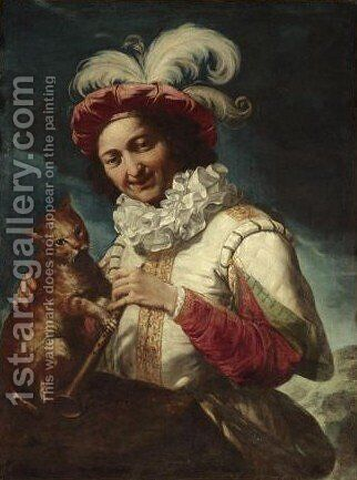 A Young Musician Wearing A Feathered Cap And Holding A Cat by (after) Giuseppe Maria Crespi - Reproduction Oil Painting