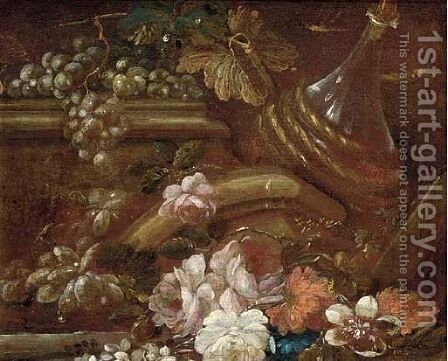 Roses, grapes, and a bottle amongst classical ruins by (after) Giuseppe Vincenzino - Reproduction Oil Painting