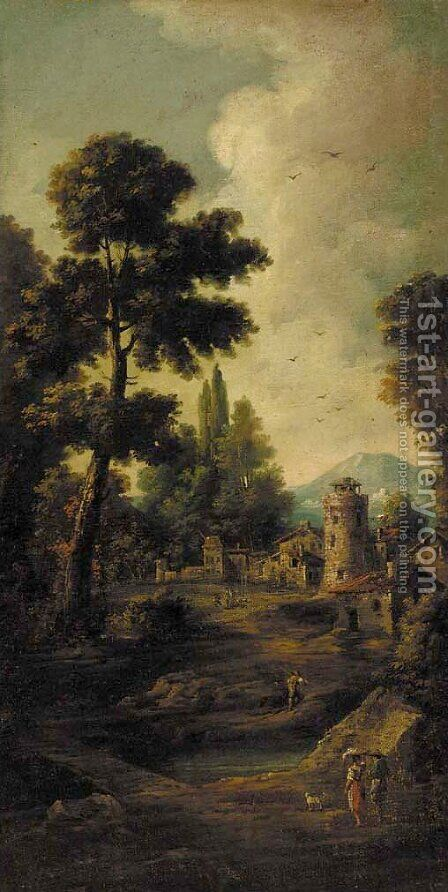 Peasants in a landscape, a fortified town beyond by (after) Giuseppe Zias - Reproduction Oil Painting