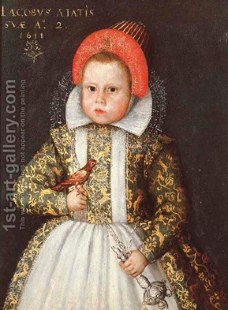 Portrait of a boy, aged two by (after) Gortzius Geldorp - Reproduction Oil Painting