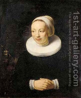 Portrait of a lady, half-length, in a white hat and ruff by (after) Govert Teunisz. Flinck - Reproduction Oil Painting