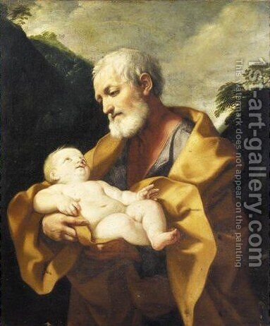 Saint Joseph With The Infant Christ 2 by (after) Guido Reni - Reproduction Oil Painting
