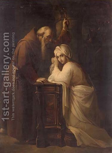 A monk blessing a girl in an interior by (after) Guido Reni - Reproduction Oil Painting