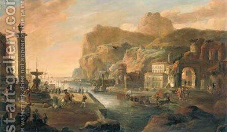 A coastal landscape by (after) Hendrick Danckerts - Reproduction Oil Painting