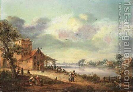 A river landscape with an inn by (after) Hendrik Keun - Reproduction Oil Painting