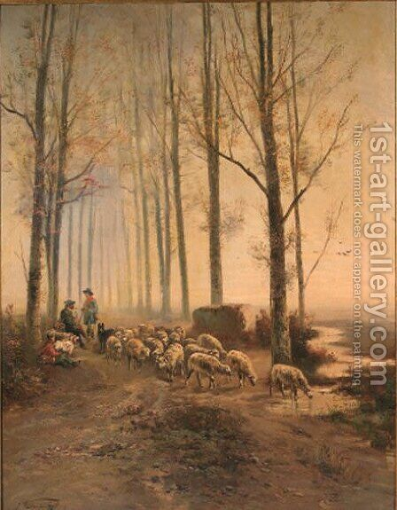 A shepherd and a huntsman meeting on a forest track by (after) Henri Schouten - Reproduction Oil Painting