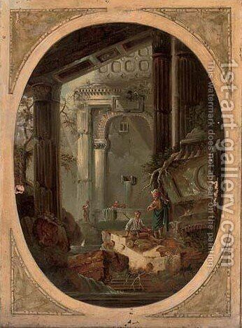 A capriccio of washerwomen and other figures by a fountain amongst classical ruins by (after) Hubert Robert - Reproduction Oil Painting