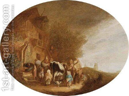 Wheeler-Dealers Near An Inn by (after) Isaack Jansz. Van Ostade - Reproduction Oil Painting