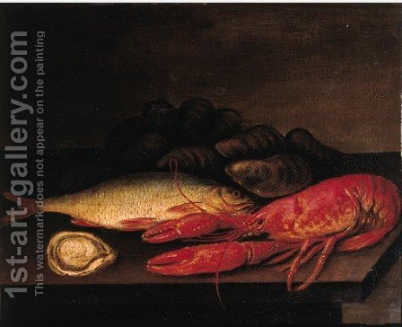 An oyster, a crayfish and a mullet on a stone ledge by (after) Jacob Samuel Beck - Reproduction Oil Painting