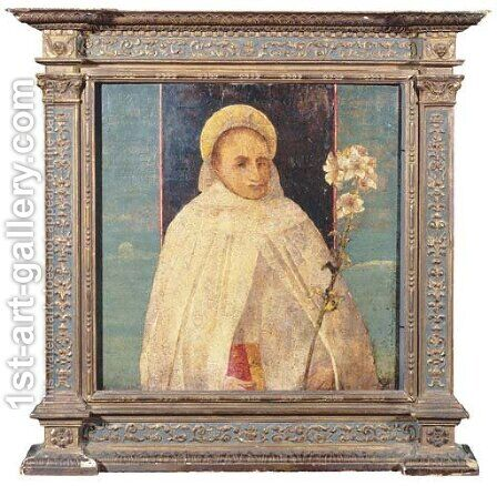 A saint holding a white lily by (after) Jacopo Bellini - Reproduction Oil Painting