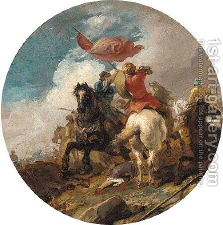 A cavalry engagement between Turks and Saracens by (after) Jacques (Le Bourguignon) Courtois - Reproduction Oil Painting