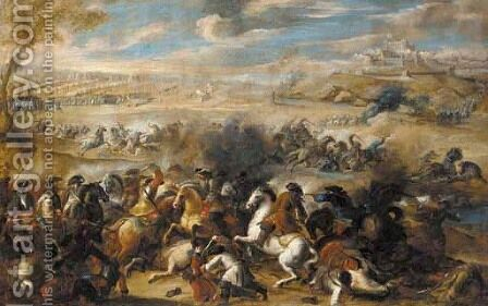 A cavalry skirmish in an extensive landscape by (after) Jacques (Le Bourguignon) Courtois - Reproduction Oil Painting
