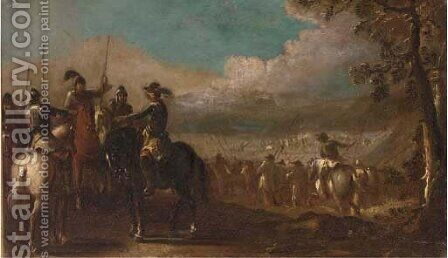 A cavalry skirmish with officers conversing in the foreground by (after) Jacques (Le Bourguignon) Courtois - Reproduction Oil Painting