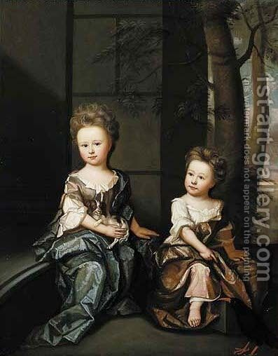Double Portrait of Juliana and Charity Helene by (after) James Francis Mauber - Reproduction Oil Painting