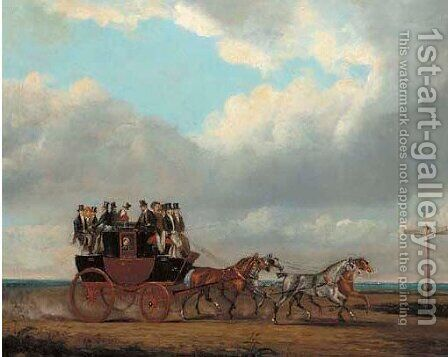 The Bedford to London coach in an extensive landscape by (after) James Pollard - Reproduction Oil Painting