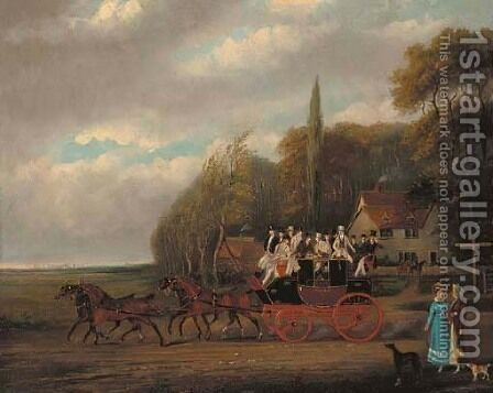 The Cambridge to London coach by a house in a wooded landscape by (after) James Pollard - Reproduction Oil Painting
