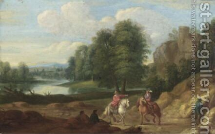 River Landscape With Cavaliers On A Track by (after) Jan Baptist Huysmans - Reproduction Oil Painting