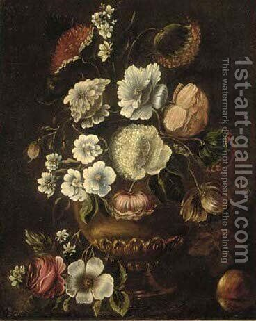 Summer flowers in a vase by (after) Jan Davidsz. De Heem - Reproduction Oil Painting